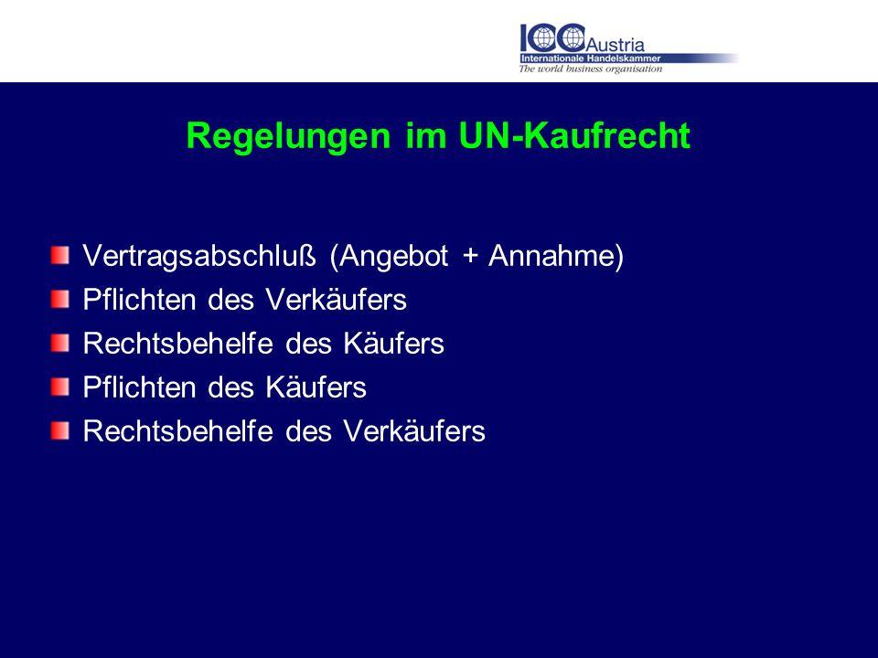 Regelungen im UN-Kaufrecht Vertragsabschluß (Angebot + Annahme) Pflichten des Verkäufers Rechtsbehelfe des Käufers Pflichten des Käufers Rechtsbehelfe