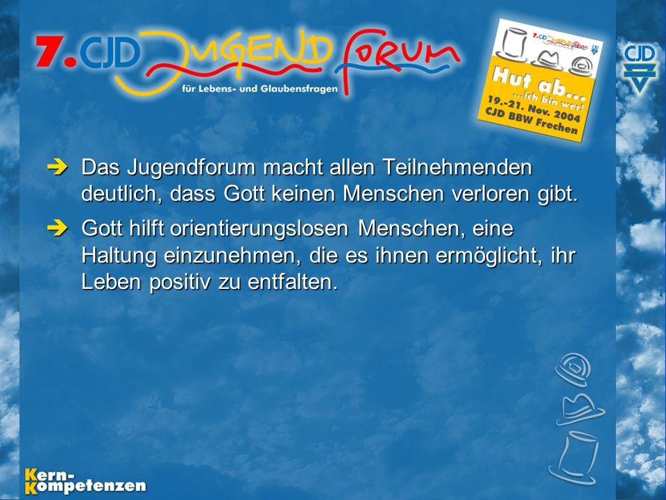 Musische Festtage 2003 - Folie 3 Das Jugendforum macht allen Teilnehmenden deutlich, dass Gott keinen Menschen verloren gibt.