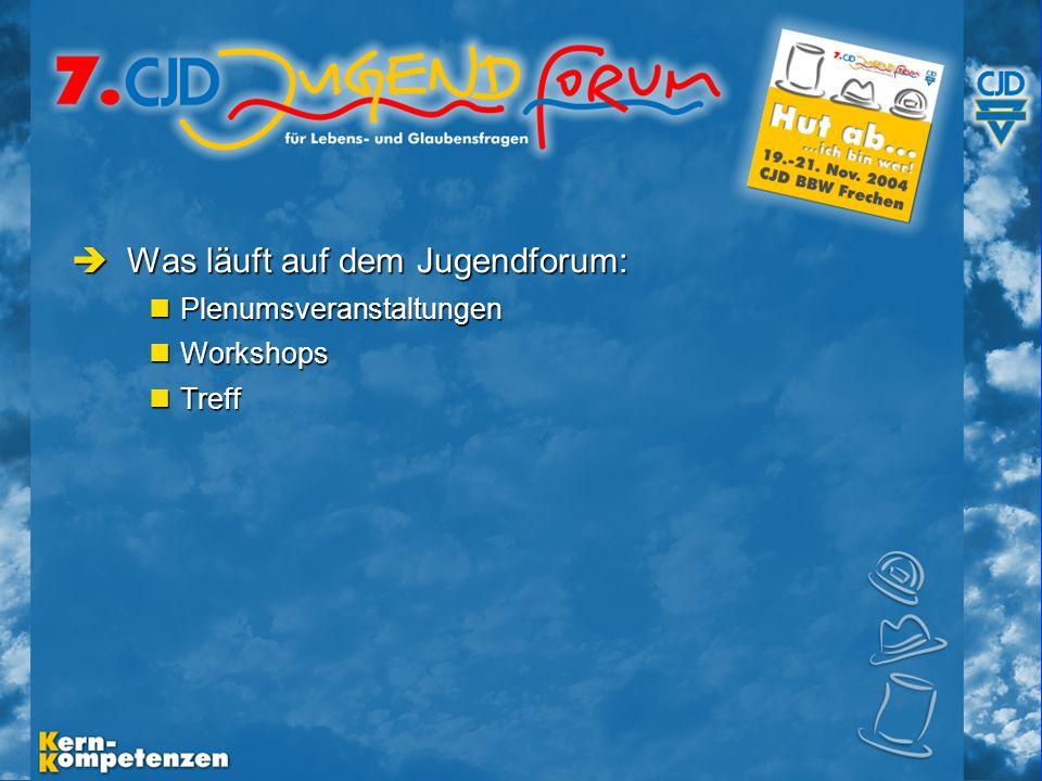 Musische Festtage 2003 - Folie 6 Was läuft auf dem Jugendforum: Was läuft auf dem Jugendforum: Plenumsveranstaltungen Plenumsveranstaltungen Workshops Workshops Treff Treff
