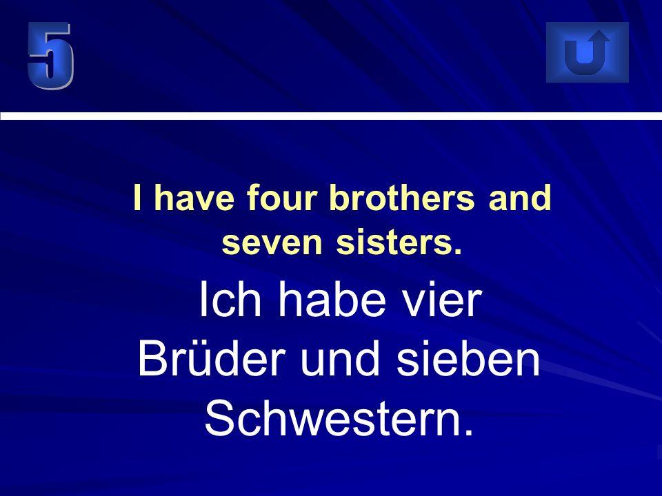 Ich habe vier Brüder und sieben Schwestern. I have four brothers and seven sisters.
