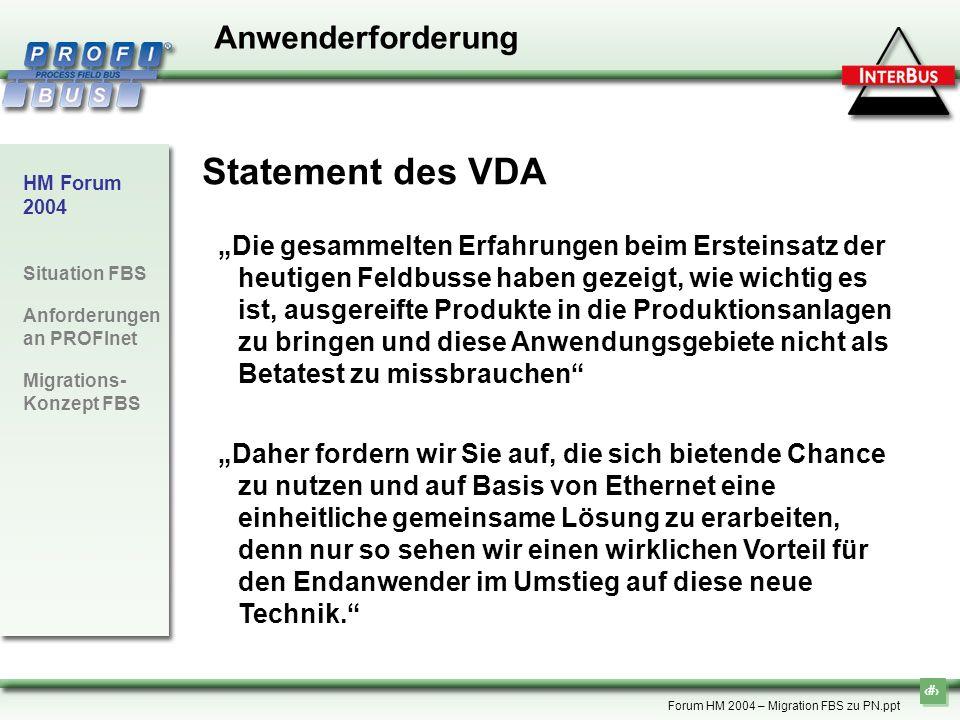 8 HM Forum 2004 Situation FBS Anforderungen an PROFInet Migrations- Konzept FBS Forum HM 2004 – Migration FBS zu PN.ppt Anwenderforderung Statement de