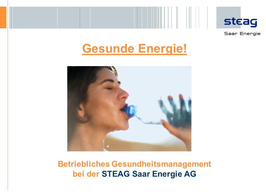 Wirtschaftsfaktor Gesundheit Gesunde Energie! Betriebliches Gesundheitsmanagement bei der STEAG Saar Energie AG