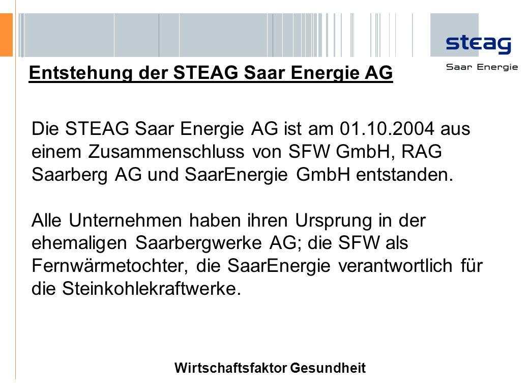 Die STEAG Saar Energie AG ist am 01.10.2004 aus einem Zusammenschluss von SFW GmbH, RAG Saarberg AG und SaarEnergie GmbH entstanden. Alle Unternehmen