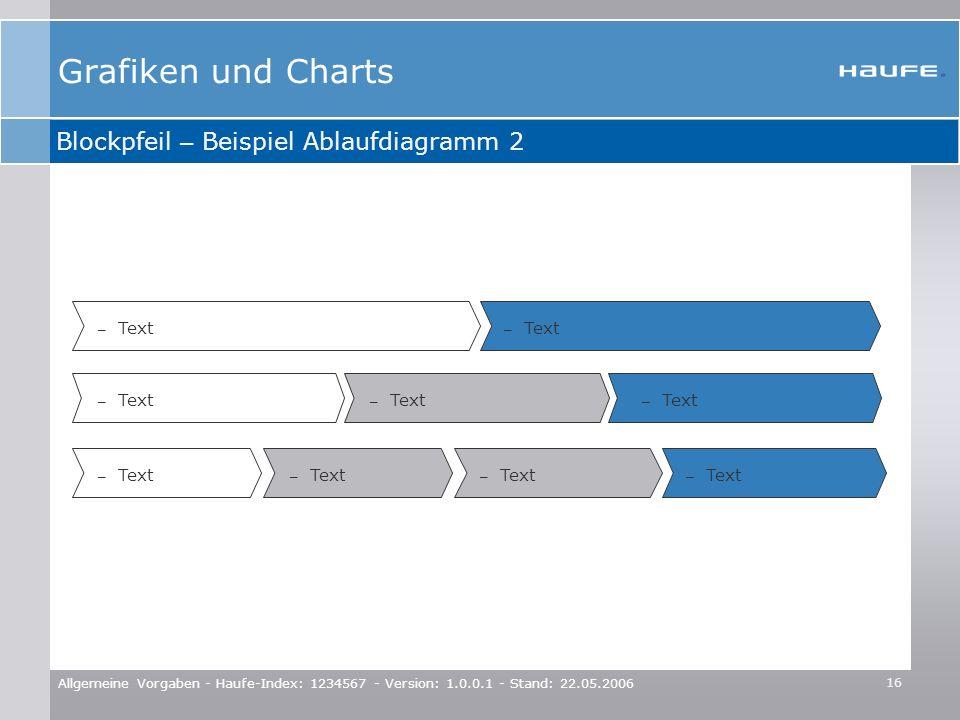 16 Allgemeine Vorgaben - Haufe-Index: 1234567 - Version: 1.0.0.1 - Stand: 22.05.2006 – Text Blockpfeil – Beispiel Ablaufdiagramm 2 Grafiken und Charts