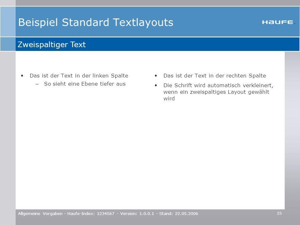 25 Allgemeine Vorgaben - Haufe-Index: 1234567 - Version: 1.0.0.1 - Stand: 22.05.2006 Beispiel Standard Textlayouts Das ist der Text in der linken Spal