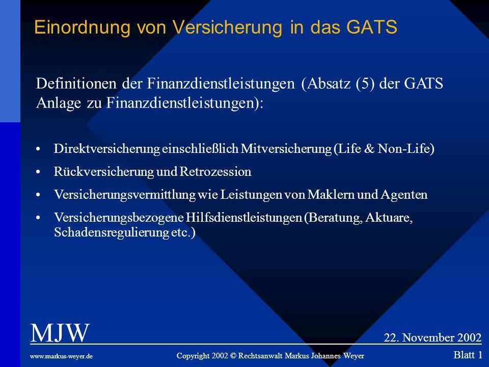 Einordnung von Versicherung in das GATS MJW 22. November 2002 www.markus-weyer.de Copyright 2002 © Rechtsanwalt Markus Johannes Weyer Blatt 1 Definiti