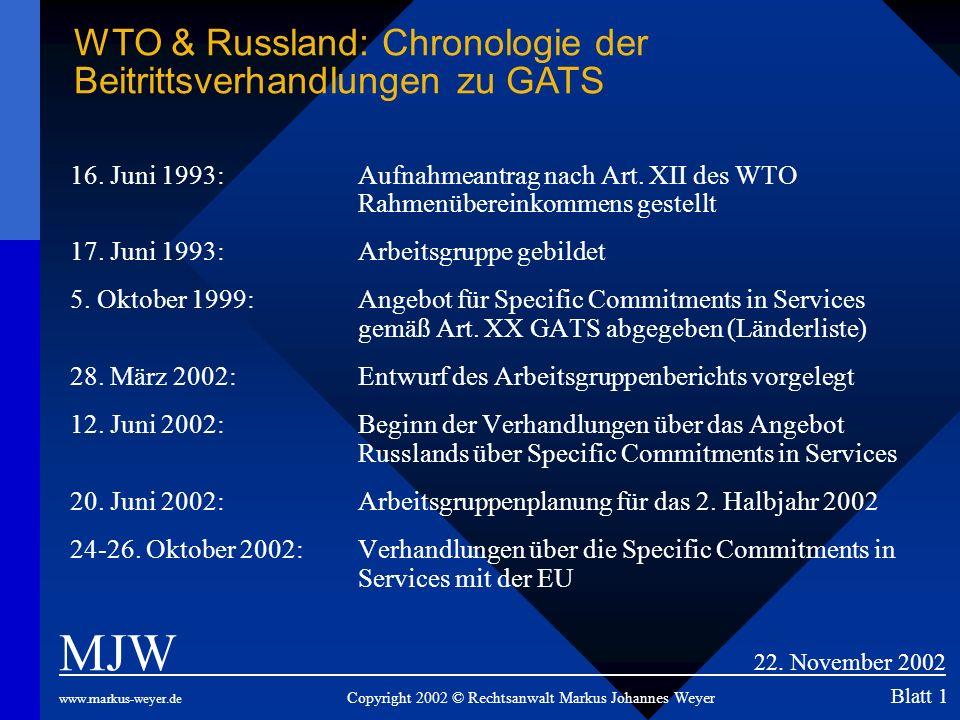 16. Juni 1993: Aufnahmeantrag nach Art. XII des WTO Rahmenübereinkommens gestellt 17. Juni 1993: Arbeitsgruppe gebildet 5. Oktober 1999:Angebot für Sp