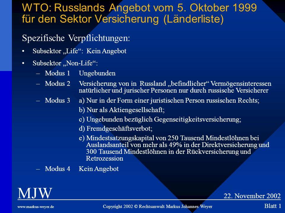 WTO: Russlands Angebot vom 5. Oktober 1999 für den Sektor Versicherung (Länderliste) MJW 22. November 2002 www.markus-weyer.de Copyright 2002 © Rechts