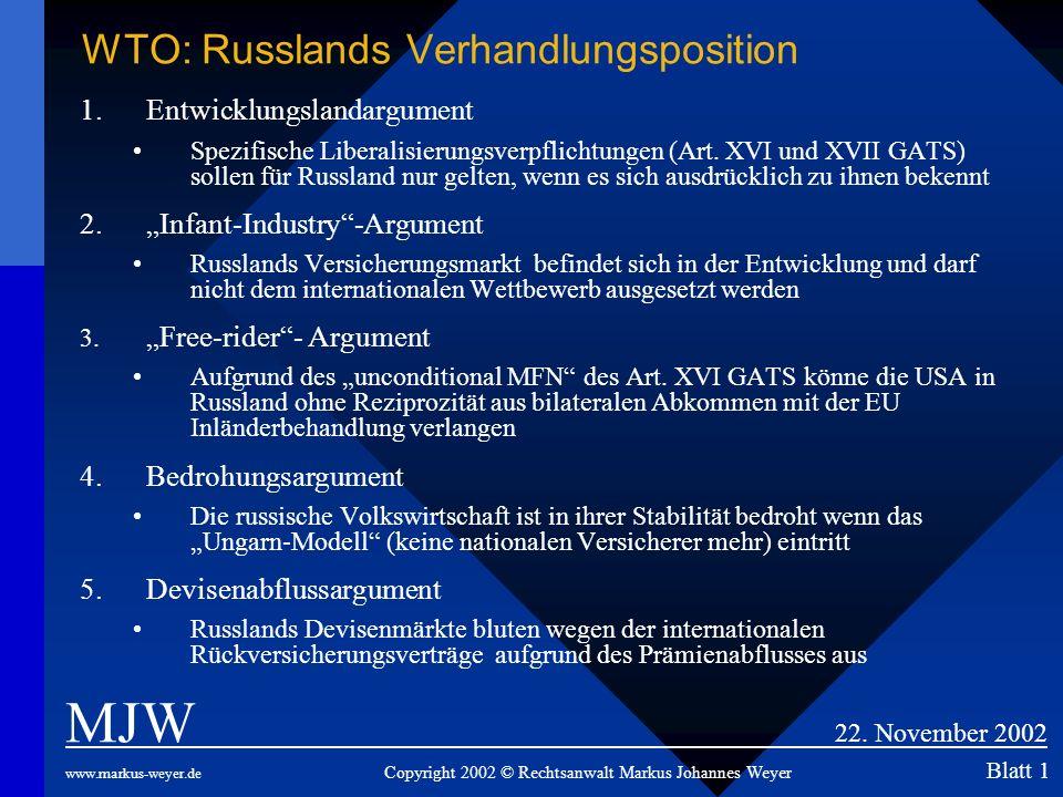 WTO: Russlands Verhandlungsposition 1.Entwicklungslandargument Spezifische Liberalisierungsverpflichtungen (Art. XVI und XVII GATS) sollen für Russlan