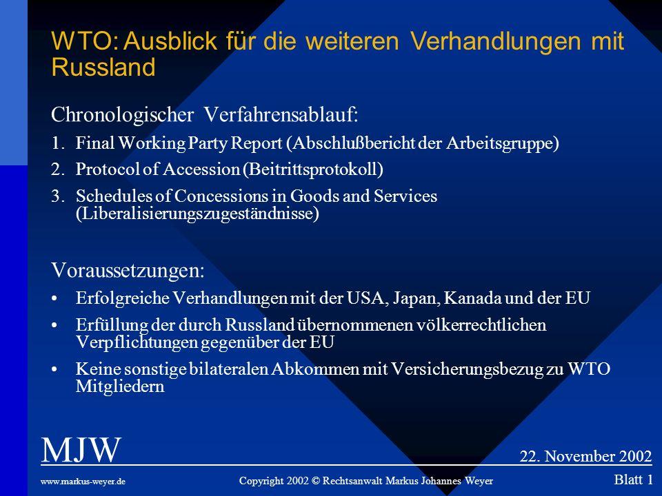 Chronologischer Verfahrensablauf: 1.Final Working Party Report (Abschlußbericht der Arbeitsgruppe) 2.Protocol of Accession (Beitrittsprotokoll) 3.Sche