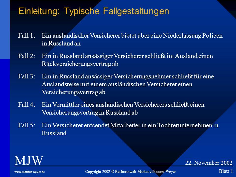 Einleitung: Typische Fallgestaltungen MJW 22. November 2002 www.markus-weyer.de Copyright 2002 © Rechtsanwalt Markus Johannes Weyer Blatt 1 Fall 1: Ei