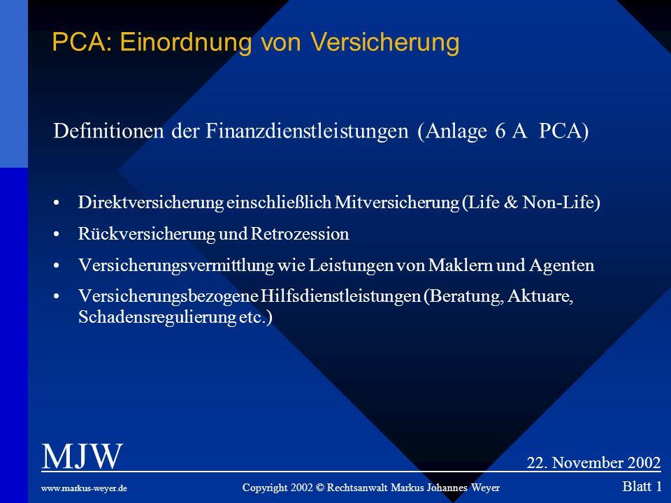 Definitionen der Finanzdienstleistungen (Anlage 6 A PCA) Direktversicherung einschließlich Mitversicherung (Life & Non-Life) Rückversicherung und Retr