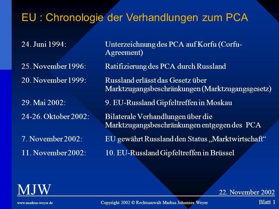 24. Juni 1994: Unterzeichnung des PCA auf Korfu (Corfu- Agreement) 25. November 1996: Ratifizierung des PCA durch Russland 20. November 1999:Russland