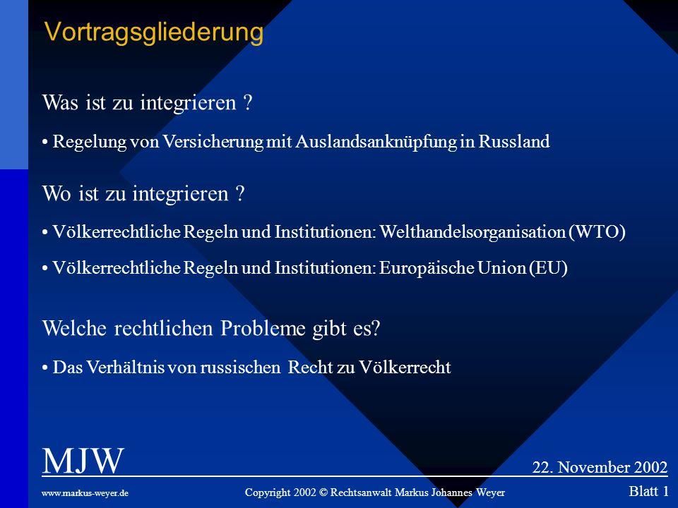 Vortragsgliederung MJW 22. November 2002 www.markus-weyer.de Copyright 2002 © Rechtsanwalt Markus Johannes Weyer Blatt 1 Was ist zu integrieren ? Rege