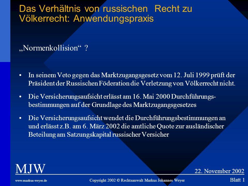 Das Verhältnis von russischen Recht zu Völkerrecht: Anwendungspraxis Normenkollision ? In seinem Veto gegen das Marktzugangsgesetz vom 12. Juli 1999 p