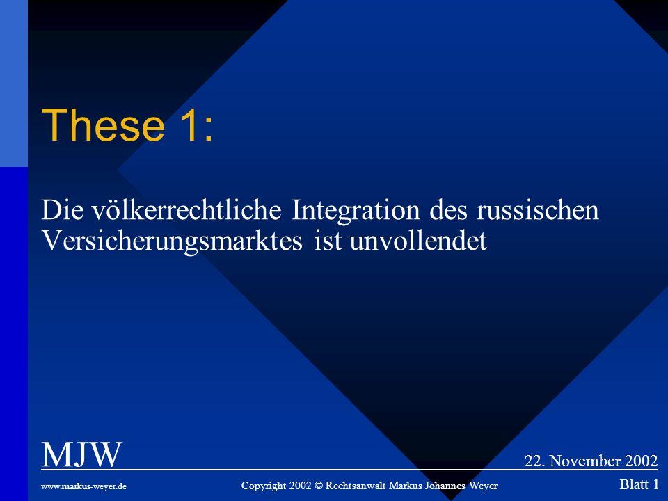 These 1: Die völkerrechtliche Integration des russischen Versicherungsmarktes ist unvollendet MJW 22. November 2002 www.markus-weyer.de Copyright 2002