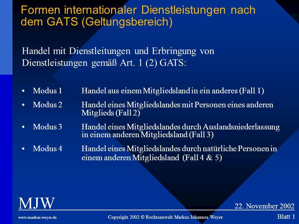 Formen internationaler Dienstleistungen nach dem GATS (Geltungsbereich) MJW 22. November 2002 www.markus-weyer.de Copyright 2002 © Rechtsanwalt Markus