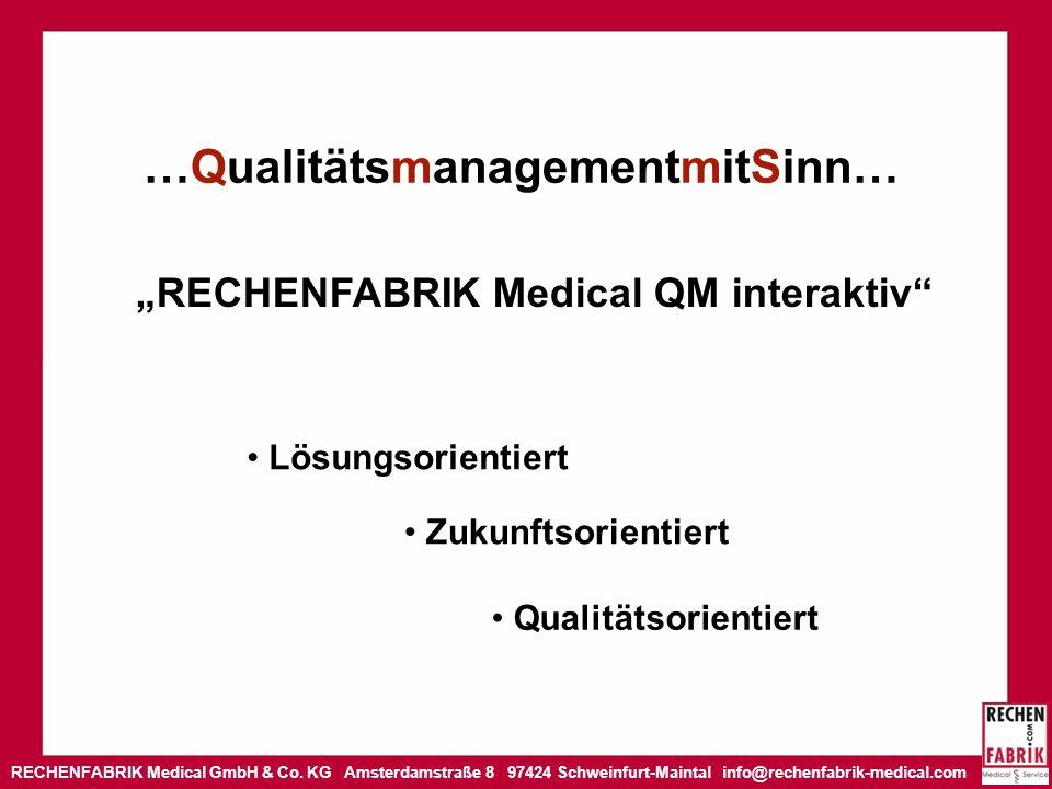 RECHENFABRIK Medical GmbH & Co. KG Amsterdamstraße 8 97424 Schweinfurt-Maintal info@rechenfabrik-medical.com …QualitätsmanagementmitSinn… RECHENFABRIK