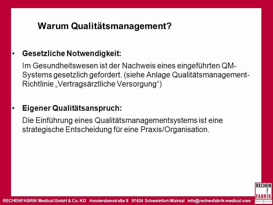 RECHENFABRIK Medical GmbH & Co. KG Amsterdamstraße 8 97424 Schweinfurt-Maintal info@rechenfabrik-medical.com Warum Qualitätsmanagement? Gesetzliche No