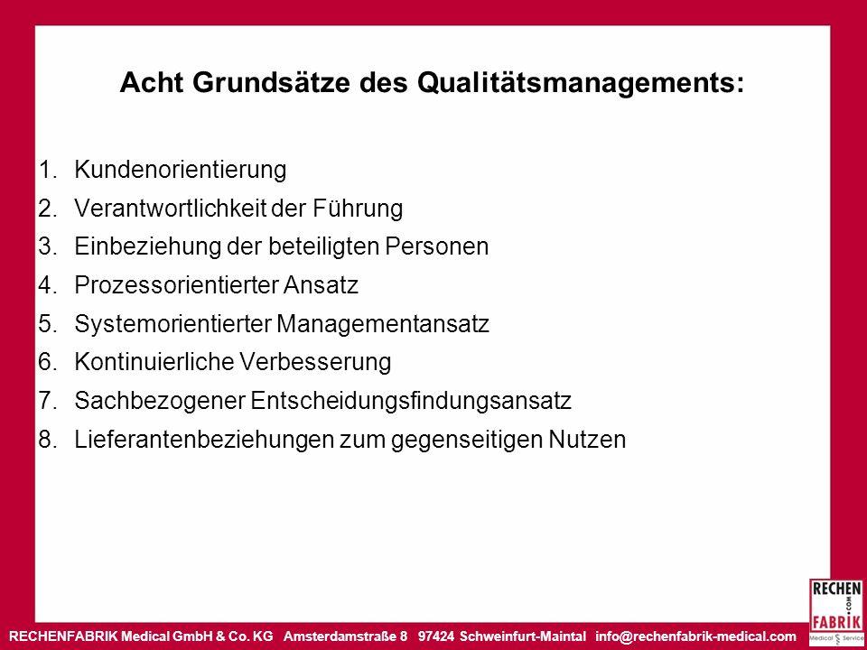 RECHENFABRIK Medical GmbH & Co. KG Amsterdamstraße 8 97424 Schweinfurt-Maintal info@rechenfabrik-medical.com Acht Grundsätze des Qualitätsmanagements: