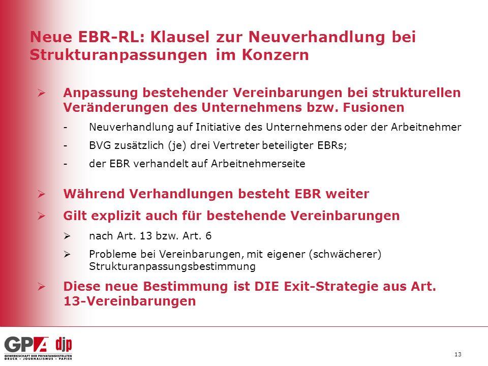 13 Neue EBR-RL: Klausel zur Neuverhandlung bei Strukturanpassungen im Konzern Anpassung bestehender Vereinbarungen bei strukturellen Veränderungen des