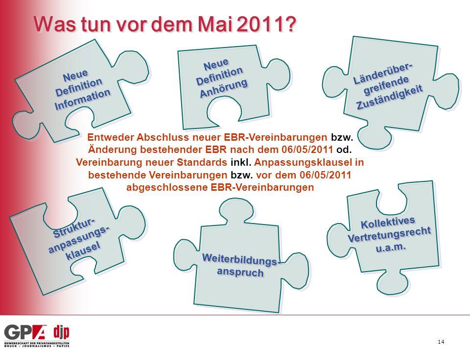 14 Was tun vor dem Mai 2011? Neue Definition Information Struktur- anpassungs- klausel klausel Weiterbildungs-anspruchWeiterbildungs-anspruch Kollekti