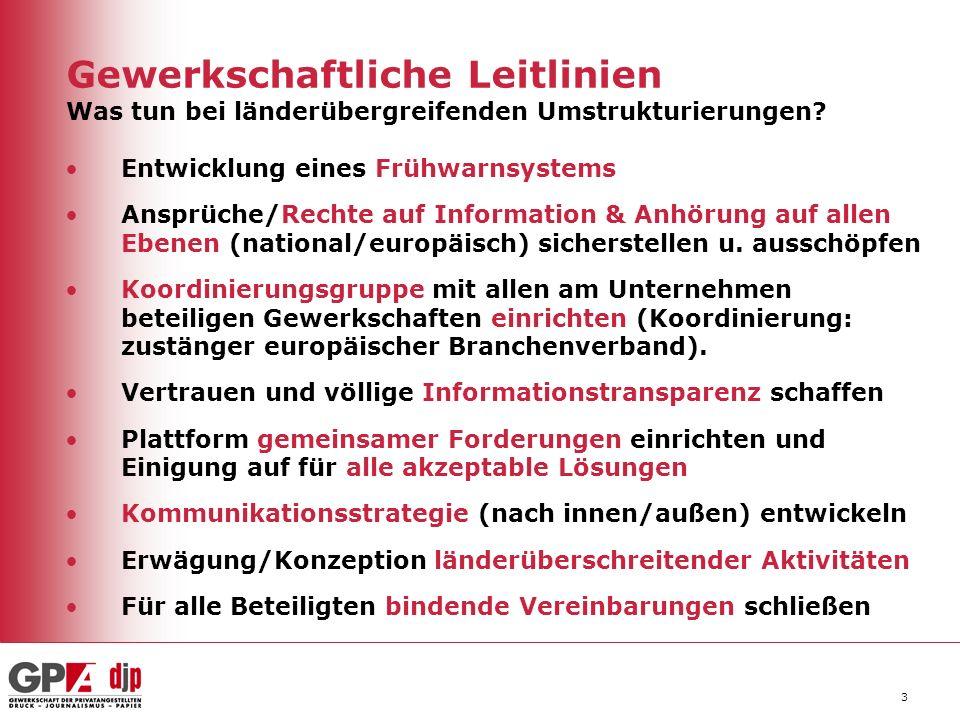 4 EU Recht zur AN-Beteiligung bei Restrukturierung Wirtschaftspolitische Richtlinien –Verschmelzung von Kapitalgesellschaften (RL 2005/56/EG) –Übernahmeangebote (RL 2004/25 EG) –EU Leitlinien zum staatlichen Beihilfewesen –Fusionskontrollverordnung (VO 1033/2008/EG) Sozialpolitische Richtlinien –Schutz der AN bei Zahlungsunfähigkeit des AG (RL 80/987/EG) –Sitzverlagerung (in Verhandlung) –Massenentlassungen (RL 98/59/EG) –Betriebsübergang - Wahrung von Ansprüchen (RL 2001/23/EG) Richtlinien zu Information, Konsultation, Sozialdialog –Europäische Grundrechte (verbindlich im Lissabon Vertrag) –Europäische Betriebsräte (neue RL 38/2009/EG) –Europäische Aktiengesellschaft (RL 2001/86/EG) –Info- u Anhörungsrechte in den Mitgliedstaaten (RL 2002/14/EG) –Sozialdialoge sektorübergreifend/branche (Art 137-138 EGV)