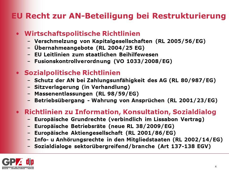 4 EU Recht zur AN-Beteiligung bei Restrukturierung Wirtschaftspolitische Richtlinien –Verschmelzung von Kapitalgesellschaften (RL 2005/56/EG) –Übernah