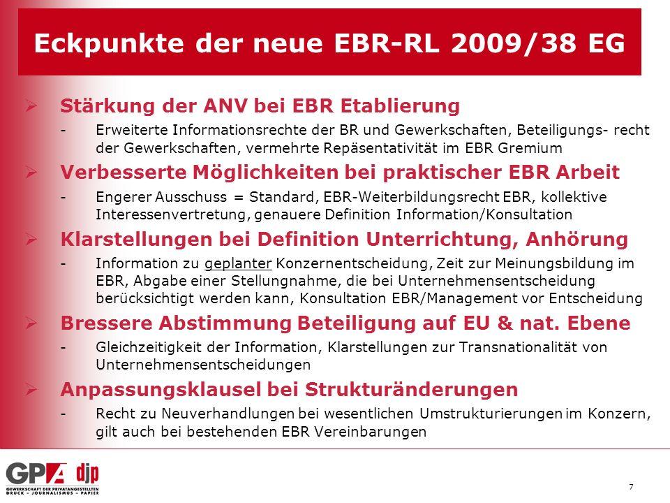 8 Der potentielle Mehrwert der neuen EBR RL bei Umstrukturierungen 1.Wesentliche Klarstellungen bei Unterrichtungs- und Anhörungsrechten 2.Definition transnationale Angelegenheit (Klarstellung im Erwägungsgrund) 3.EBR erhält kollektives Vertretungsmandat (Möglichkeit besserer Rechtsdurchsetzung) 4.Neuverhandlungsrecht bei Strukturänderungen und Fusionen