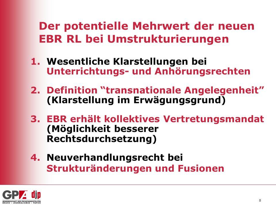 8 Der potentielle Mehrwert der neuen EBR RL bei Umstrukturierungen 1.Wesentliche Klarstellungen bei Unterrichtungs- und Anhörungsrechten 2.Definition