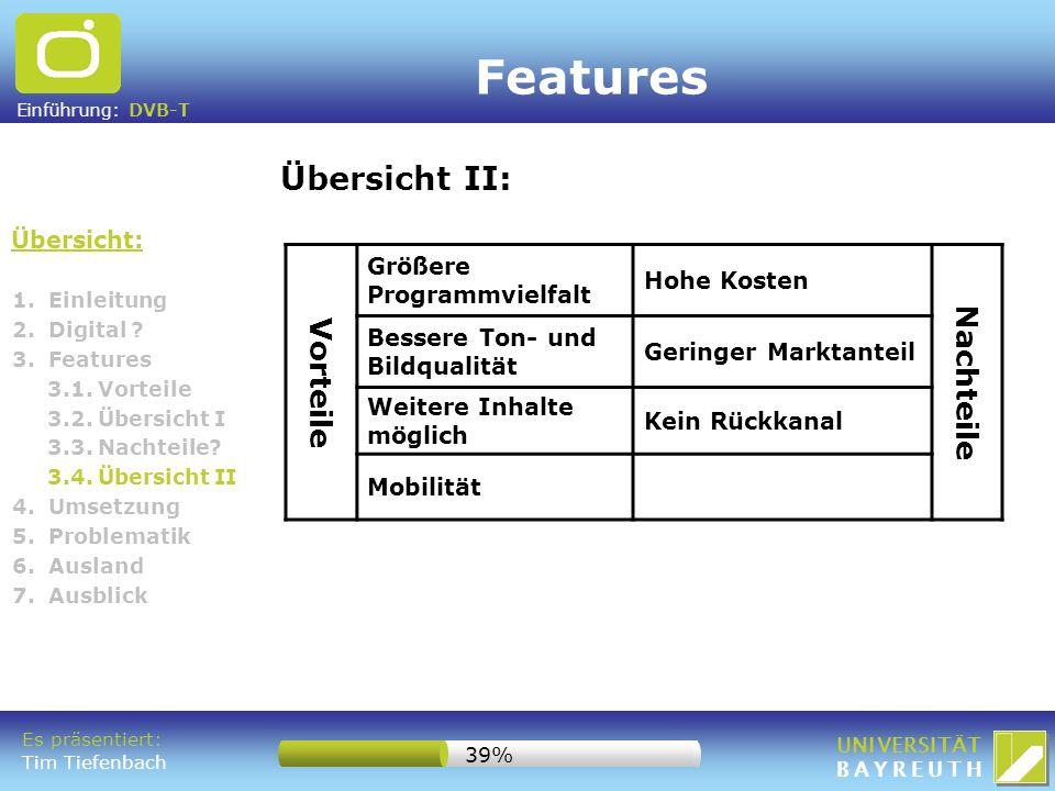 Einführung: DVB-T UNIVERSITÄT BAYREUTH 1. Einleitung 2. Digital ? 3. Features 3.1. Vorteile 3.2. Übersicht I 3.3. Nachteile? 3.4. Übersicht II 4. Umse
