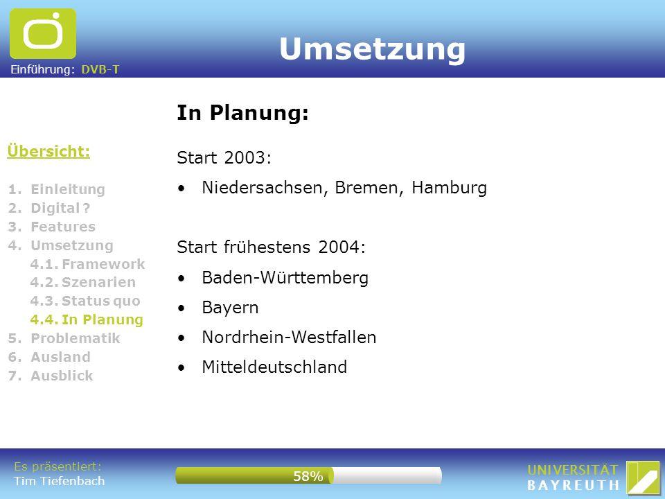 Einführung: DVB-T UNIVERSITÄT BAYREUTH 1. Einleitung 2. Digital ? 3. Features 4. Umsetzung 4.1. Framework 4.2. Szenarien 4.3. Status quo 4.4. In Planu