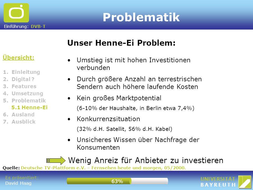 Einführung: DVB-T UNIVERSITÄT BAYREUTH Problematik Übersicht: Unser Henne-Ei Problem: Umstieg ist mit hohen Investitionen verbunden Durch größere Anza