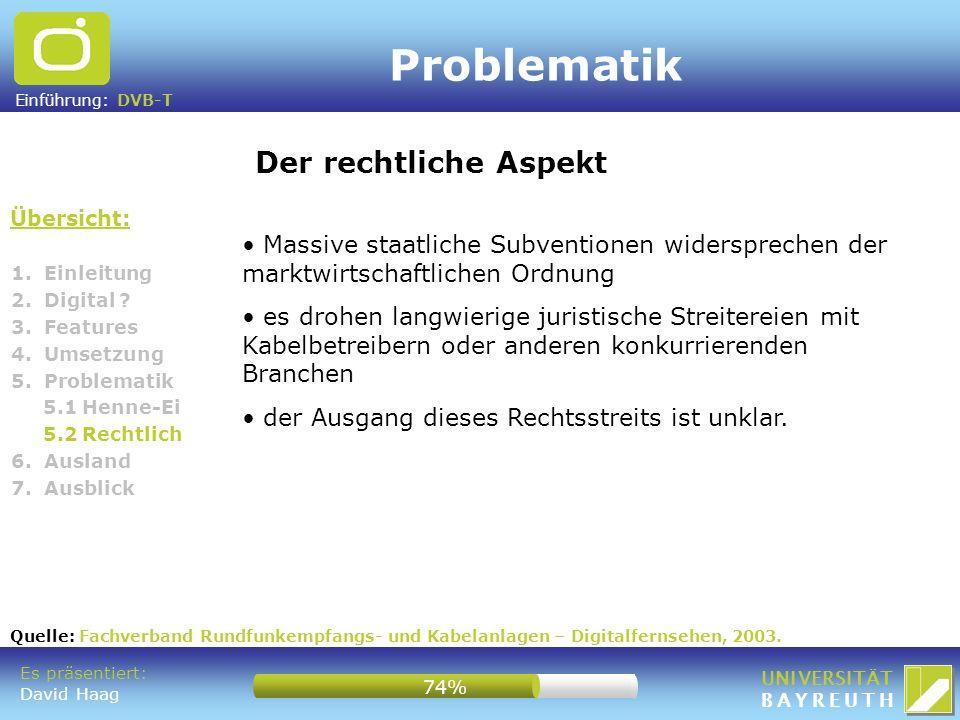 Einführung: DVB-T UNIVERSITÄT BAYREUTH Problematik Übersicht: Der rechtliche Aspekt 1. Einleitung 2. Digital ? 3. Features 4. Umsetzung 5. Problematik