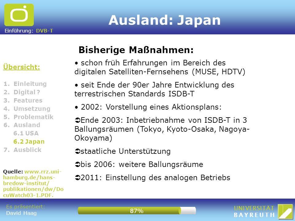 Einführung: DVB-T UNIVERSITÄT BAYREUTH Ausland: Japan Übersicht: Bisherige Maßnahmen: 1. Einleitung 2. Digital ? 3. Features 4. Umsetzung 5. Problemat