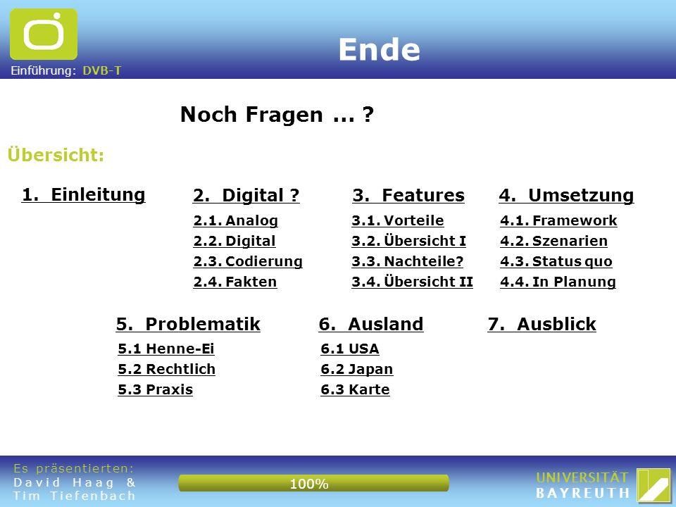 Einführung: DVB-T UNIVERSITÄT BAYREUTH Übersicht: Noch Fragen... ? 1. Einleitung Ende 2. Digital ?3. Features4. Umsetzung 5. Problematik6. Ausland7. A
