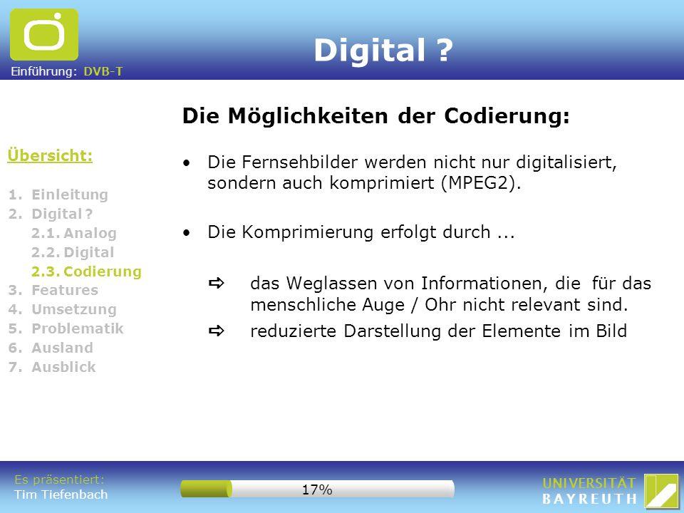 Einführung: DVB-T UNIVERSITÄT BAYREUTH 1. Einleitung 2. Digital ? 2.1. Analog 2.2. Digital 2.3. Codierung 3. Features 4. Umsetzung 5. Problematik 6. A