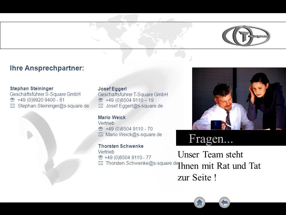 Fragen... Unser Team steht Ihnen mit Rat und Tat zur Seite ! Ihre Ansprechpartner: Stephan Steininger Geschäftsführer S-Square GmbH +49 (0)9920 9400 -