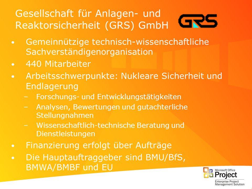 Gesellschaft für Anlagen- und Reaktorsicherheit (GRS) GmbH Gemeinnützige technisch-wissenschaftliche Sachverständigenorganisation 440 Mitarbeiter Arbe
