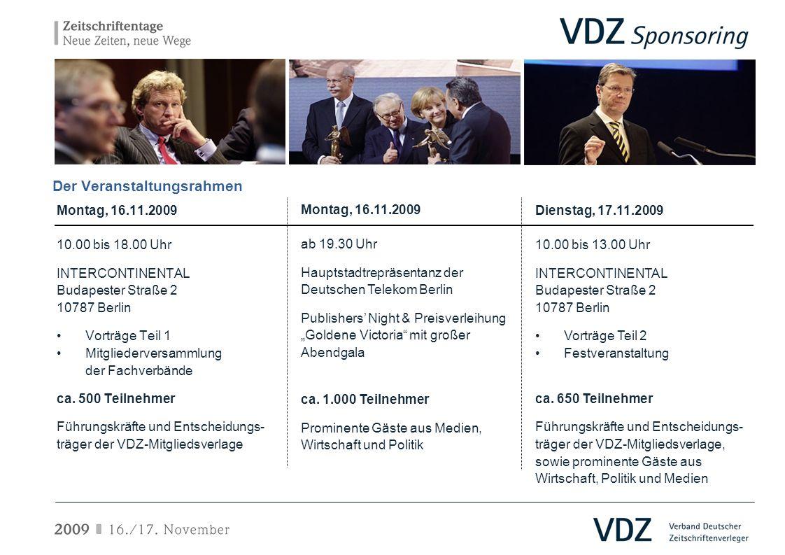 Der Veranstaltungsrahmen Montag, 16.11.2009 10.00 bis 18.00 Uhr INTERCONTINENTAL Budapester Straße 2 10787 Berlin Vorträge Teil 1 Mitgliederversammlun