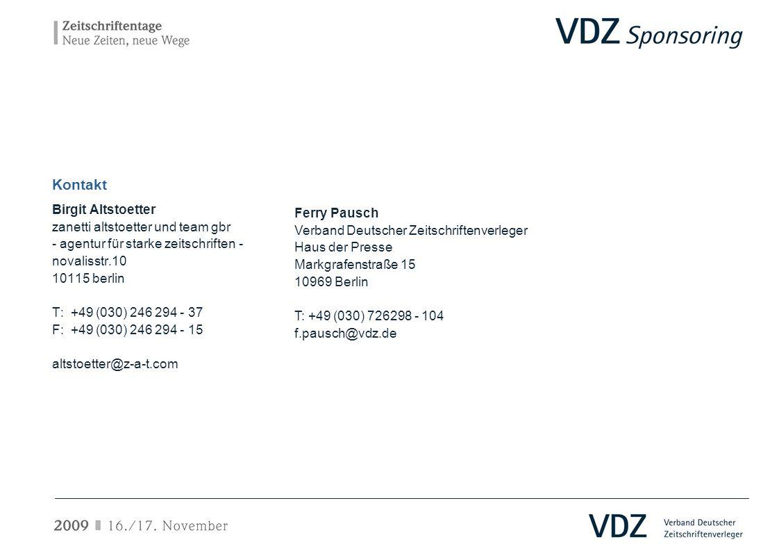 Kontakt Birgit Altstoetter zanetti altstoetter und team gbr - agentur für starke zeitschriften - novalisstr.10 10115 berlin T: +49 (030) 246 294 - 37