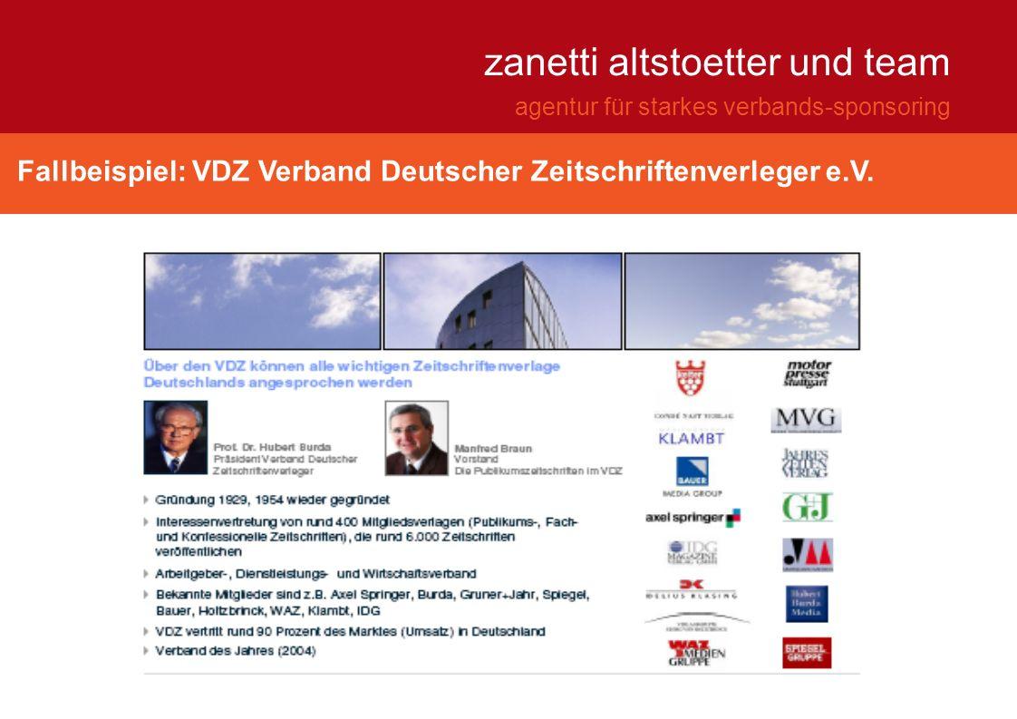 Fallbeispiel: VDZ Verband Deutscher Zeitschriftenverleger e.V. zanetti altstoetter und team agentur für starkes verbands-sponsoring