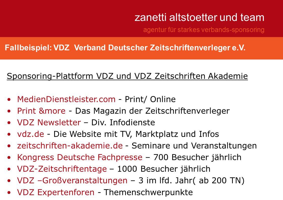 Fallbeispiel: VDZ Verband Deutscher Zeitschriftenverleger e.V. zanetti altstoetter und team agentur für starkes verbands-sponsoring Sponsoring-Plattfo
