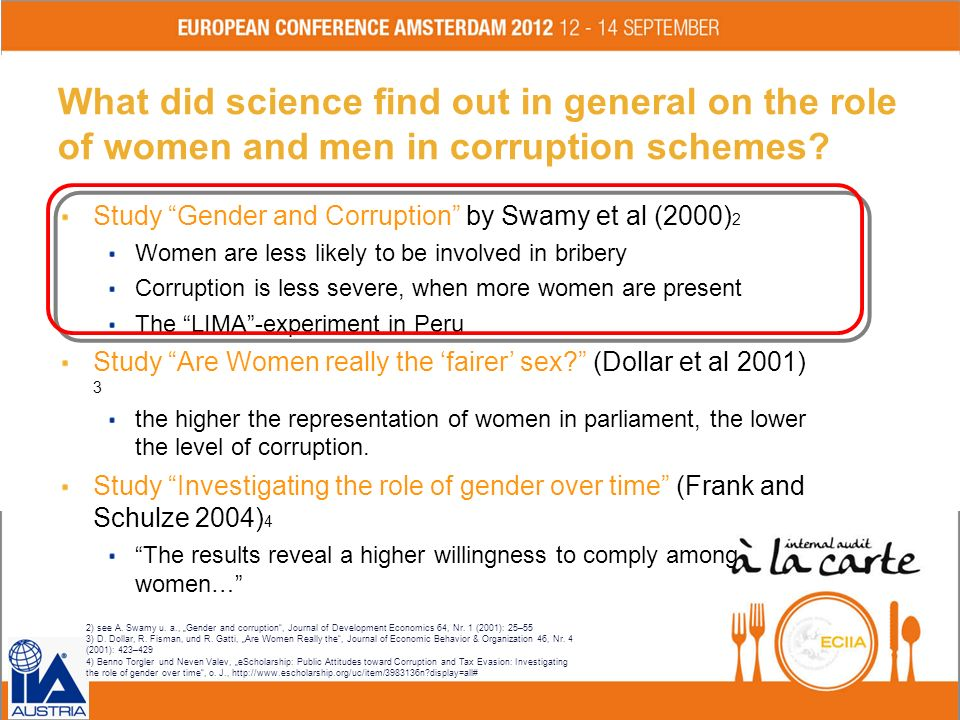 What did science find out in general on the role of women and men in corruption schemes? Study Gender and Corruption by Swamy et al (2000) 2 Women are