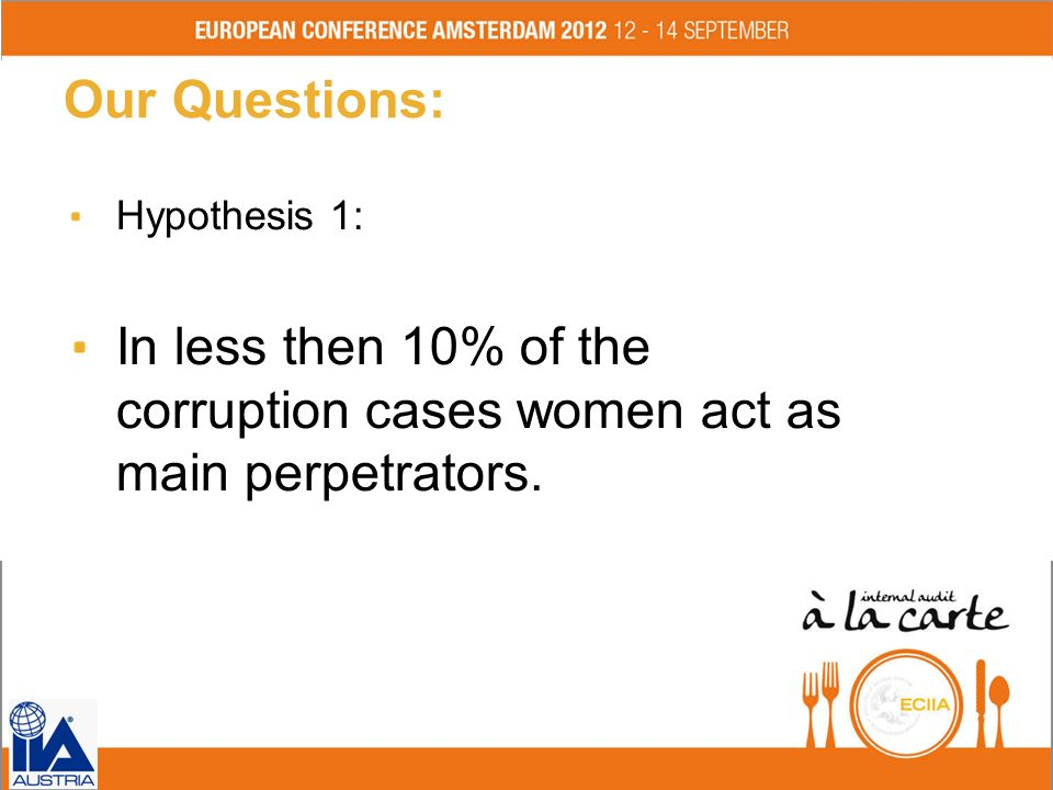 Our Questions: Hypothesis 1: In less then 10% of the corruption cases women act as main perpetrators. Fol ie 9