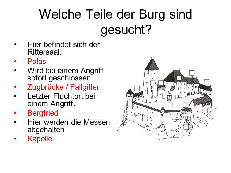 Welche Teile der Burg sind gesucht? Hier befindet sich der Rittersaal. Palas Wird bei einem Angriff sofort geschlossen. Zugbrücke / Fallgitter Letzter