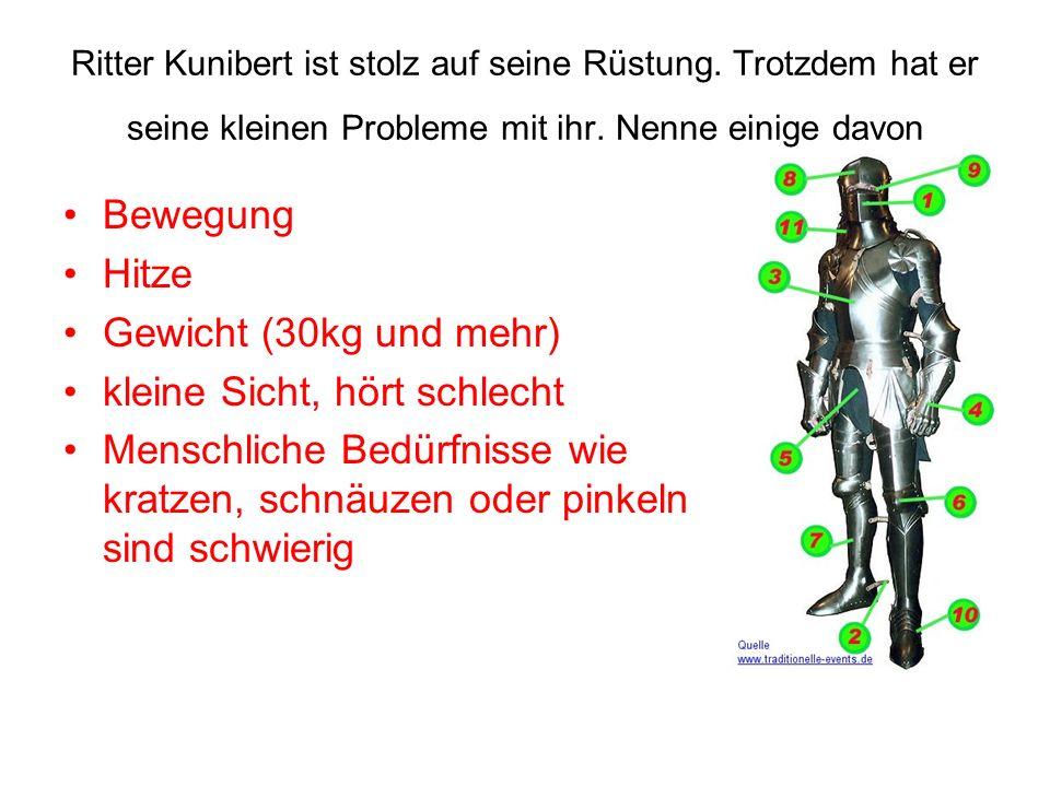 Ritter Kunibert ist stolz auf seine Rüstung. Trotzdem hat er seine kleinen Probleme mit ihr. Nenne einige davon Bewegung Hitze Gewicht (30kg und mehr)