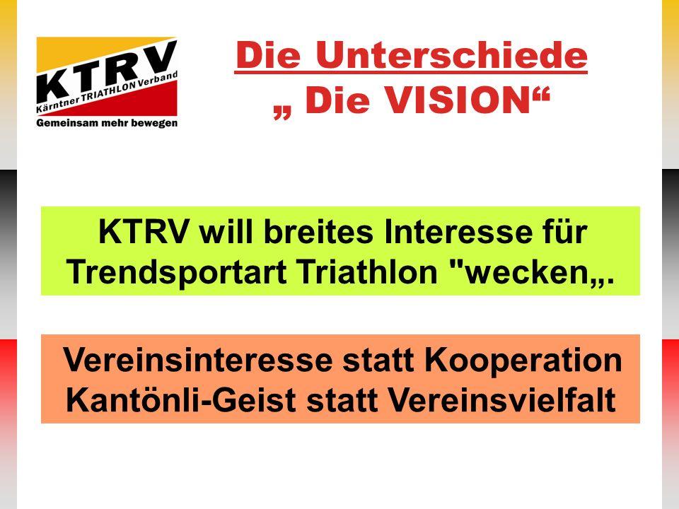 Die Unterschiede Die VISION Vereinsinteresse statt Kooperation Kantönli-Geist statt Vereinsvielfalt KTRV will breites Interesse für Trendsportart Tria