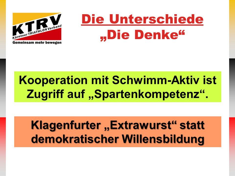 Die Unterschiede Die Denke Klagenfurter Extrawurst statt demokratischer Willensbildung Kooperation mit Schwimm-Aktiv ist Zugriff auf Spartenkompetenz.