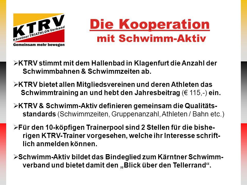 Die Kooperation mit Schwimm-Aktiv KTRV stimmt mit dem Hallenbad in Klagenfurt die Anzahl der Schwimmbahnen & Schwimmzeiten ab. KTRV bietet allen Mitgl